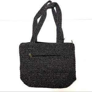 The Sak Riviera Tote Handbag woven knit Black